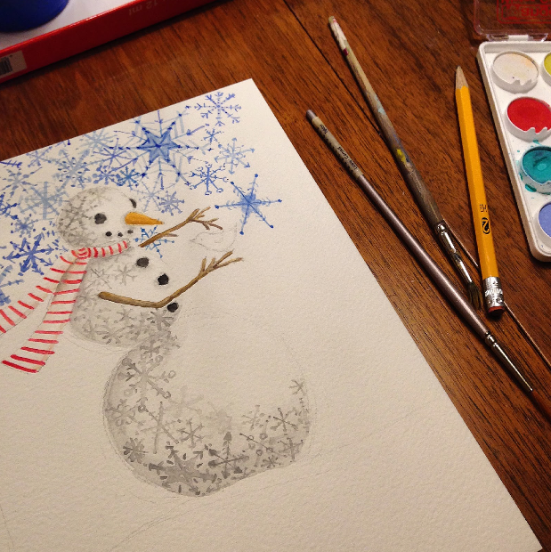 Julie Comstock's snowman painting