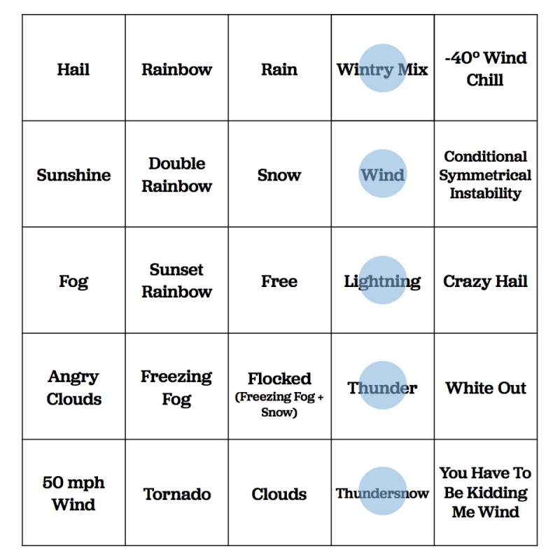 Cheyenne Weather Bingo